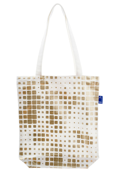 A gold and white shopping bag in cotton with a zip and a small inside pocket. Large enough to hold an ipad, laptop or some groceries. Perfect to use instead of a plastic bag.