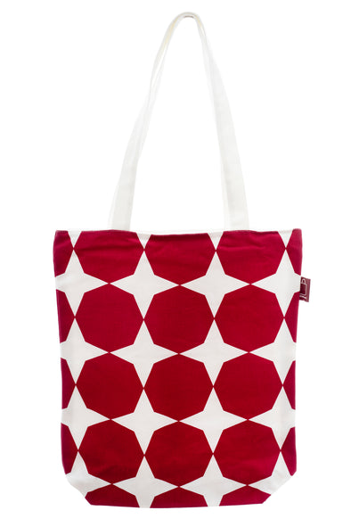 A shopping bag with design printed on strong cotton fabric. It has a zip for full closure of the bag, and a small inside pocket. Large enough to hold an ipad, laptop or some groceries etc.  Size is about 35x40 cm + handle