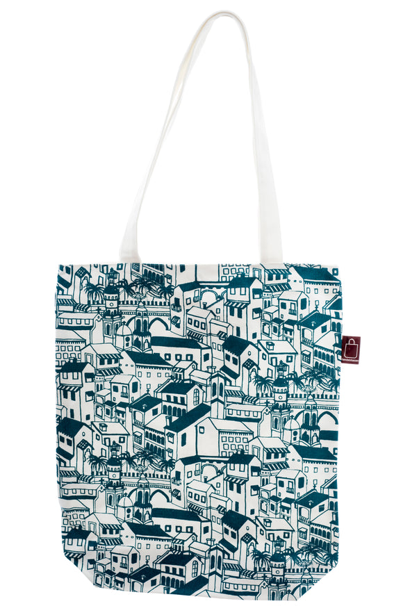 A shopping bag with design printed on strong cotton fabric. It has a zip for closure and a small inside pocket. Large enough to hold an ipad, laptop or some groceries.