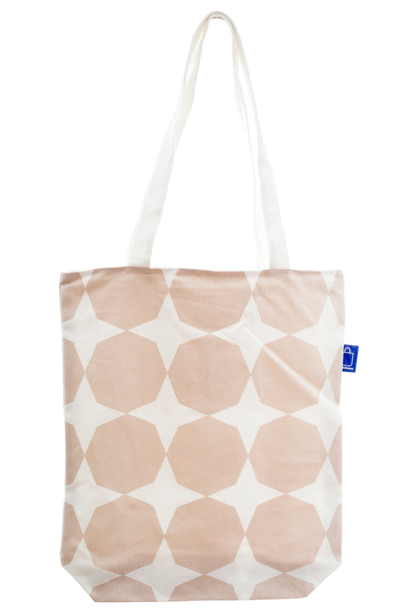 A versatile tote in cotton. It has a zip for closure and a small inside pocket. Large enough to hold an ipad, laptop or some groceries. Perfect for the beach and to use instead of a plastic bag.