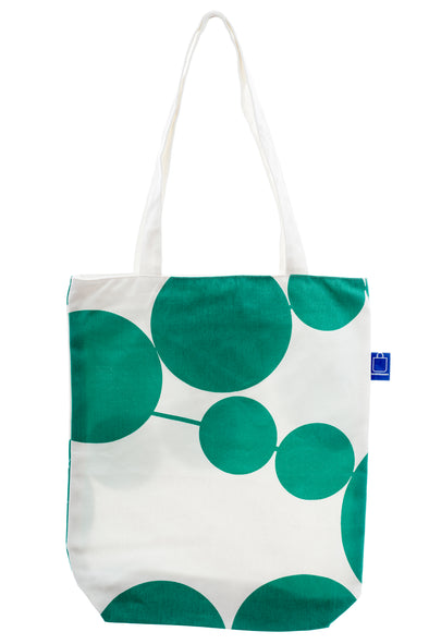 A cotton tote with green and white design. It has a zip for closure and a small inside pocket. Large enough to hold an ipad, laptop or some groceries. Perfect for the beach and to use instead of a plastic bag.