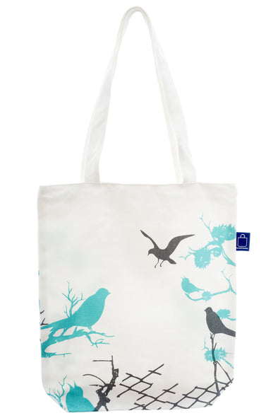 A birds design cotton tote with a zip for closure and a small inside pocket. Large enough to hold an ipad, laptop or some groceries. Perfect for the beach and to use instead of a plastic bag.