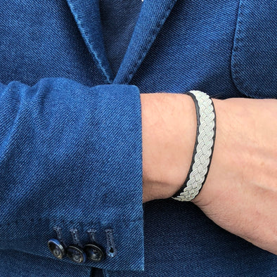 Bracelet for men soft leather and pewter embroidery. Handmade in Swedish Lapland by Julevu.