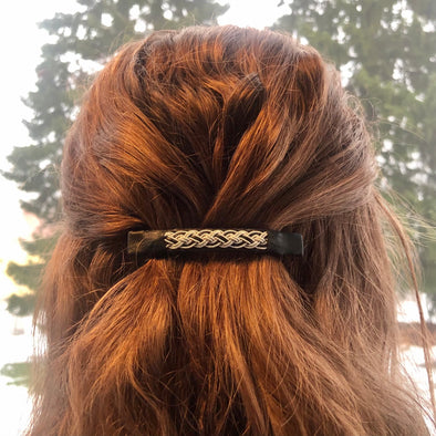 Hair clip in black reindeer leather with pewter embroidery. Handmade in Swedish Lapland.