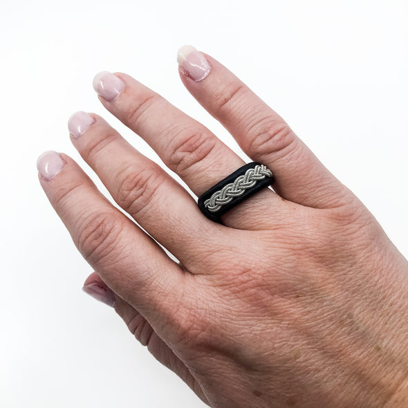 Sami inspired jewelry from Lapland, ring with leather and pewter by Julevu Sweden