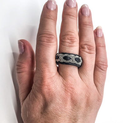 Jewellery rings in pewter and leather by Julevu in Swedish Lapland