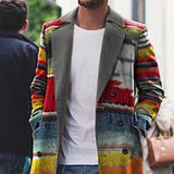 Men Fashion Rainbow Printed Lapel Coat