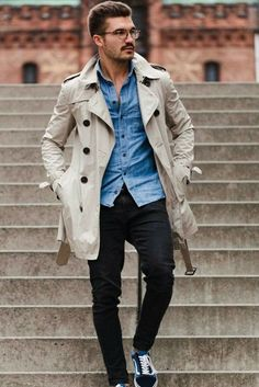 Mens Trench Coat Mens Mid Length Coat Slim Casual Coat Men Solid Adjustable Waist Male Trench Street Wear Style Wind Coat