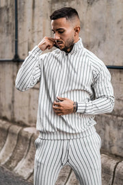 Autumn Winter New Stripe Long Sleeve + Trousers Casual Men Sets Track And field Sports Jogging Pants + Suit Brand