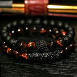2Pcs/ Set Of Luxury Natural Tiger Eye Stone Bracelet Ladies And Gentlemen Jewelry Necklace Gift Mens