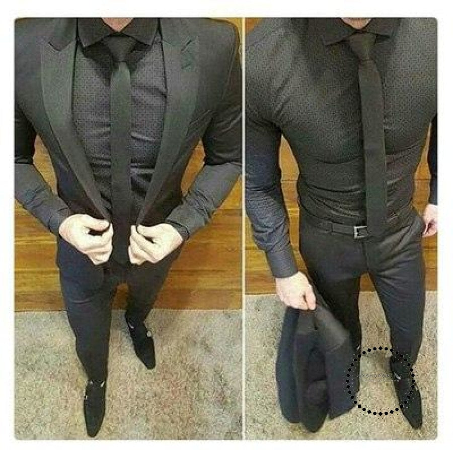 2Pieces Botch Groom Tuxedos Jacket+Pant Wedding Suit For Men MensOne Buttons Fashion Tuxedos After Six Groom Suits - myshoponline.com