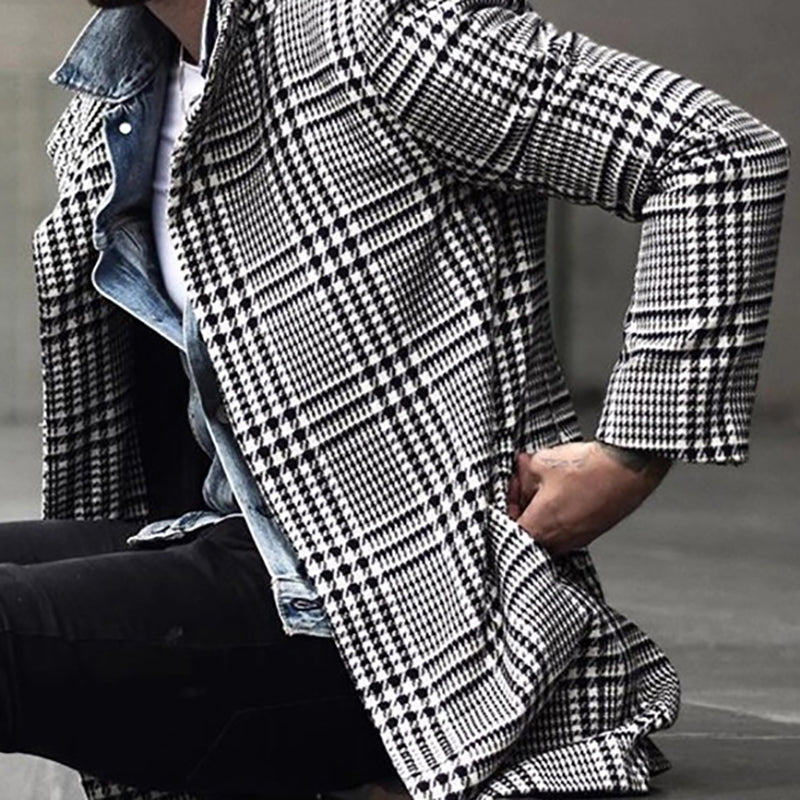 Fashion Plaid Lapel Polyester Mid-Length Coat