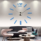 3d real big wall clock rushed mirror sticker diy living room decor - myshoponline.com