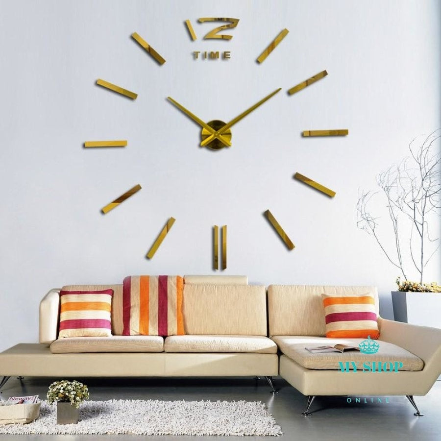 3D Real Big Wall Clock Rushed Mirror Sticker Diy Living Room Decor Accesorios