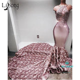 3D Rose Flower Long Mermaid Prom Gowns Sexy Crystal Lace Backless Prom Dress - myshoponline.com