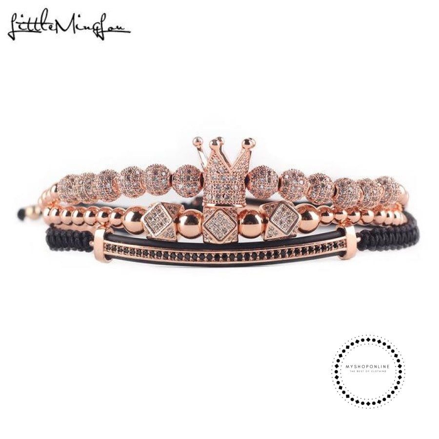 3pcs/set Luxury CZ polygon ball crown Charm copper bead Macrame handmade men Bracelets set bracelets & bangles for Men Jewelry - myshoponline.com