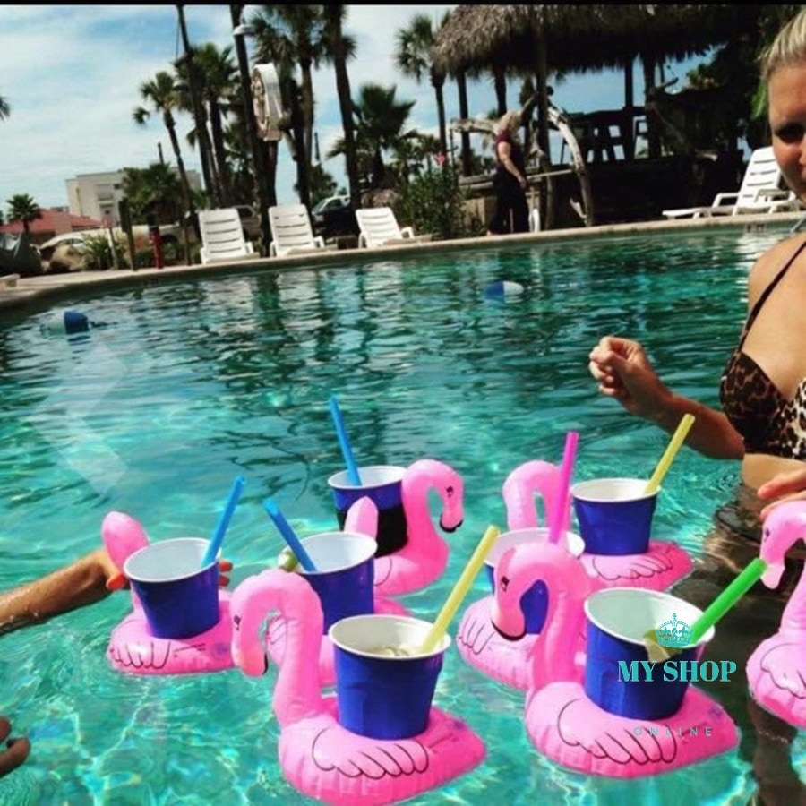 5X Air Mattresses for Cup Inflatable Flamingo Drinks Cup Holder Pool Floats Bar Coasters Floatation Devices Pink - myshoponline.com
