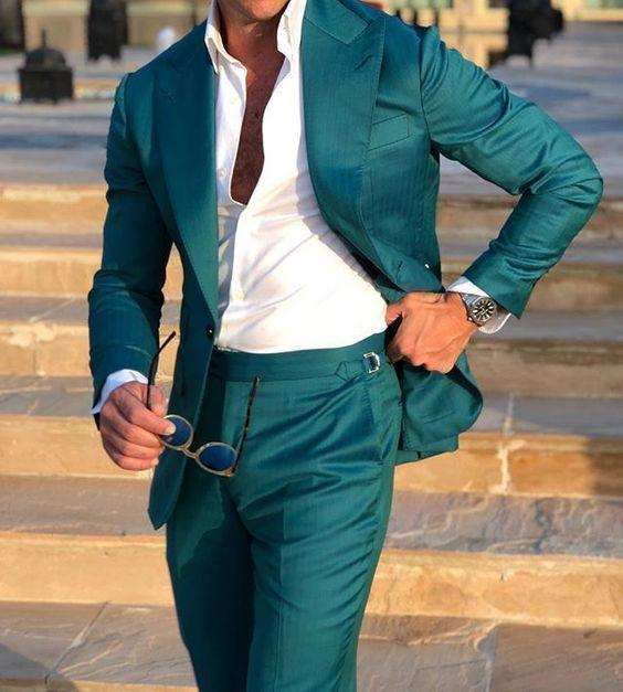 Men Wedding Suits Prom Best Man Suit (Jacket+Pants+Bow)