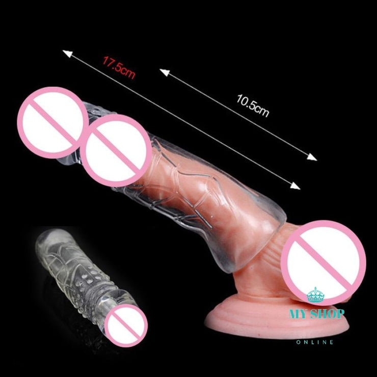 7cm Bigger Penis Enlargement  Extension Sleeves Head Reusable Condom Contraception - myshoponline.com