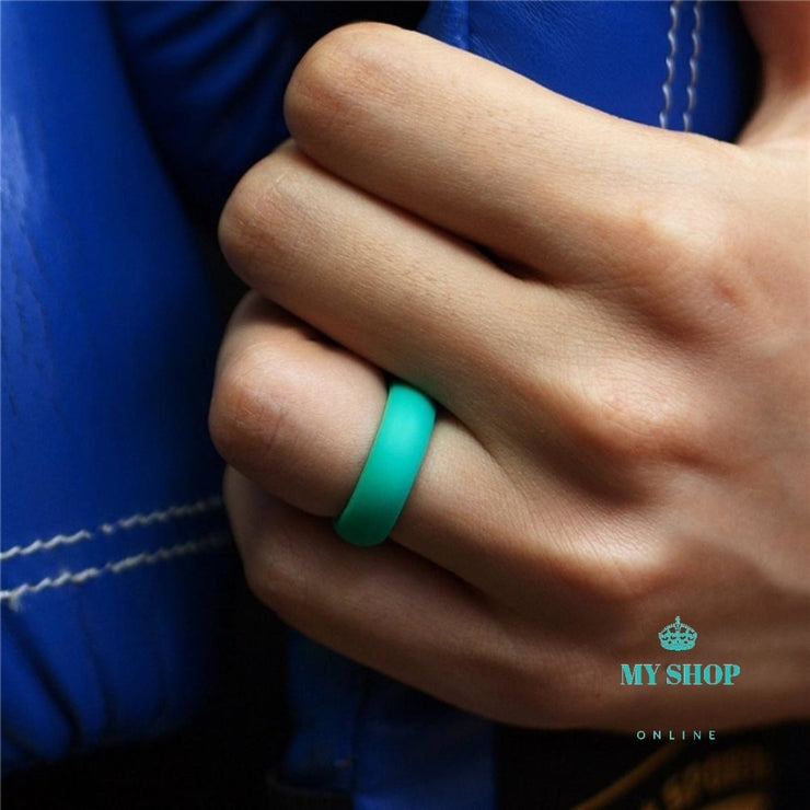 7Pcs/Set Multi Color Fashion Silicone Finger Ring Couple Lover - myshoponline.com