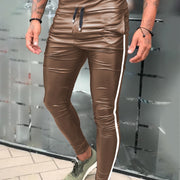 Spring Autumn Men Leather Pants Slim Fit Drawstring Waist Male Fashion PU Leather Trousers Punk Motor Cosplay Dance Pants