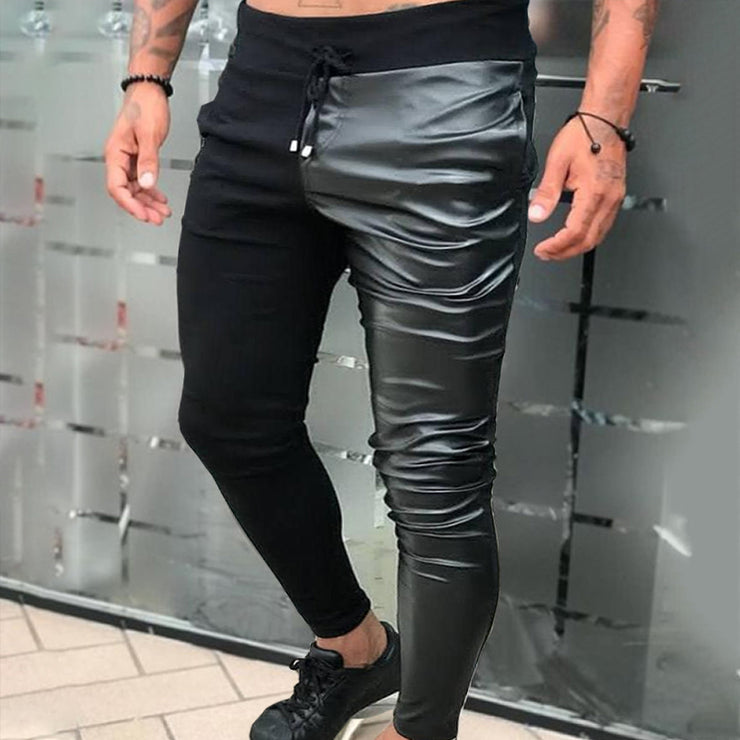 Men Pants Drawstring PU Leather Patchwork Party Nightclub Trousers Joggers Skinny Chic Fashion
