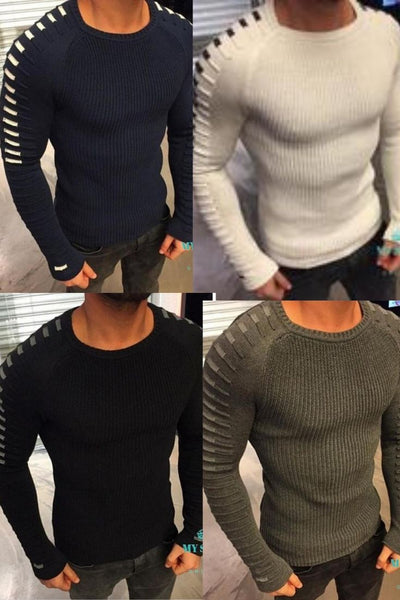 Fashion Leisure Sweater O-Neck Striped Sleeve Slim Fit Knitting Men Sweaters Pullovers