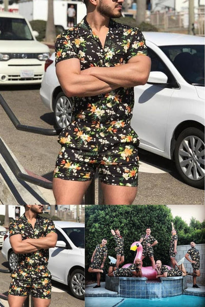 Summer Men's Print Short Sleeve Jumpsuit
