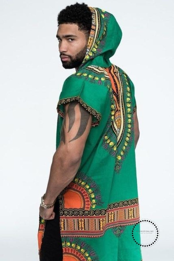 African Tribal boho Men Dashiki Print Black Succinct Hippie Top t shirts casual loose Clothes hooded - myshoponline.com