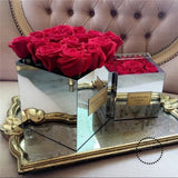 Aila acrylic flower delivery box with mirrors for 9 flowers Without Flowers - myshoponline.com