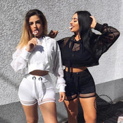 Autumn Long Sleeve Tshirt Women Mesh Top Hooded Hollow Out Transparent Sexy Short Crop Tee Black White Fishnet T-shirt - myshoponline.com