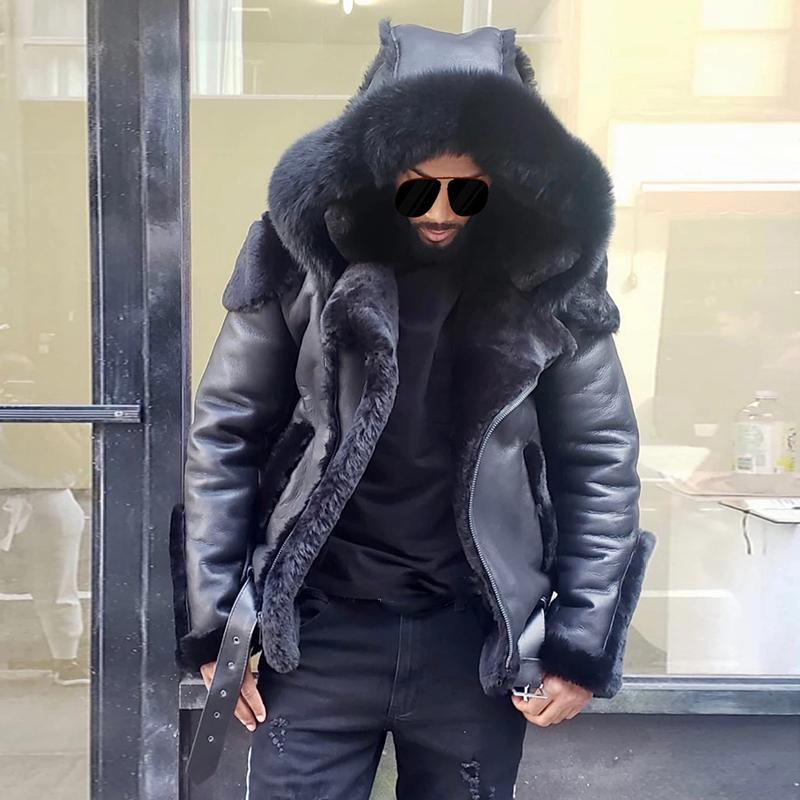Men's Fashion Black Hooded Down Jacket Coat