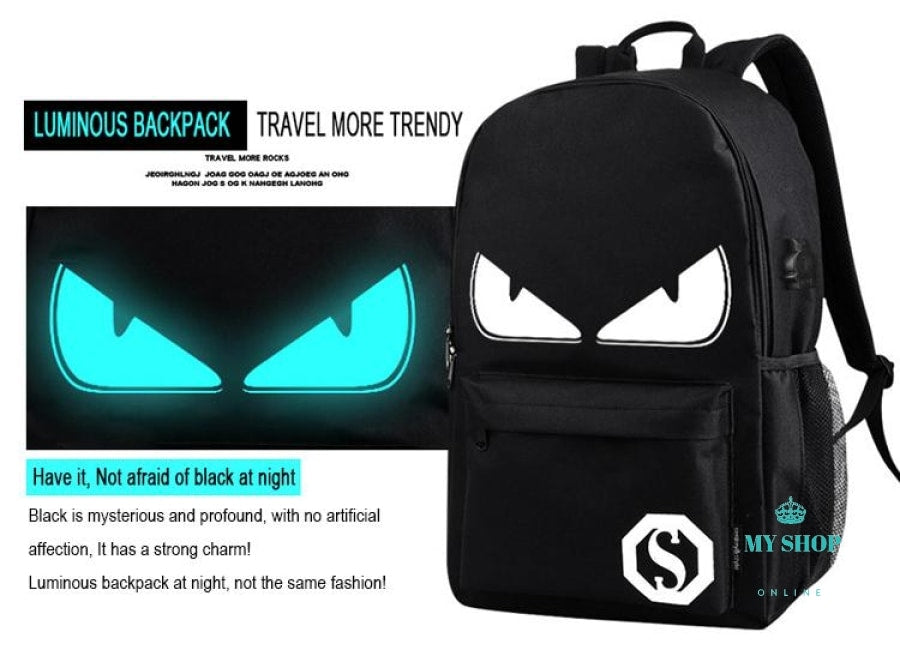 Backpack Anime Luminous  USB Charge Laptop Computer Backpack For Teenager Anti-theft Boys School Bag - myshoponline.com
