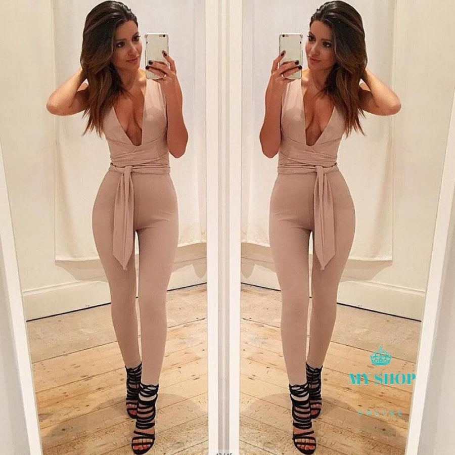 Black Deep V Fitted Sexy Bodycon Jumpsuit Nightclub For Women Accesorios
