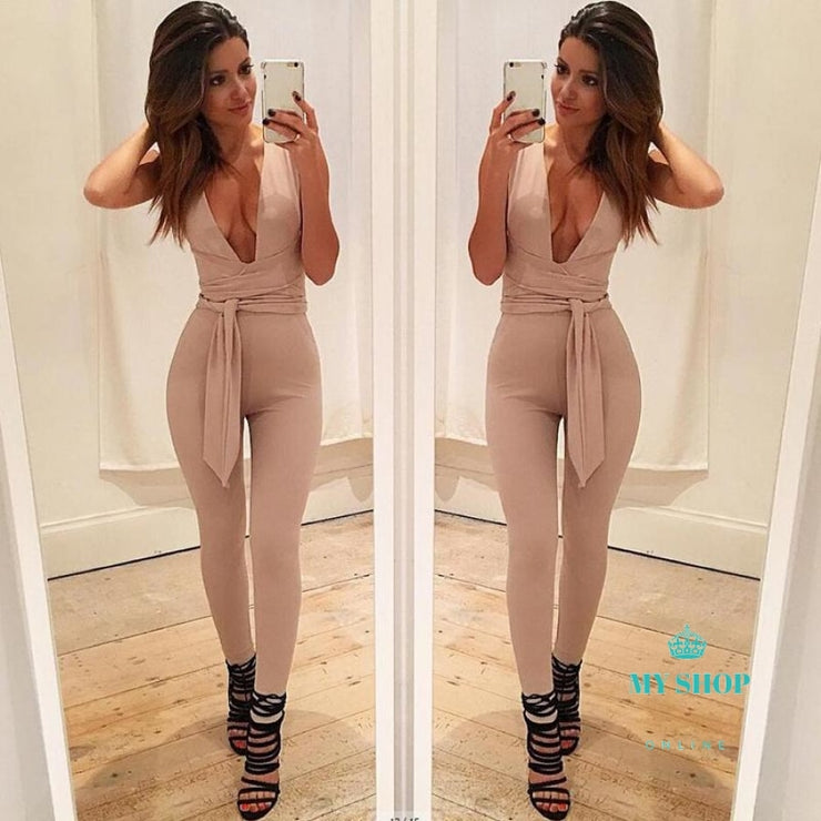 Black Deep V Fitted Sexy Bodycon Jumpsuit Nightclub For Women - myshoponline.com