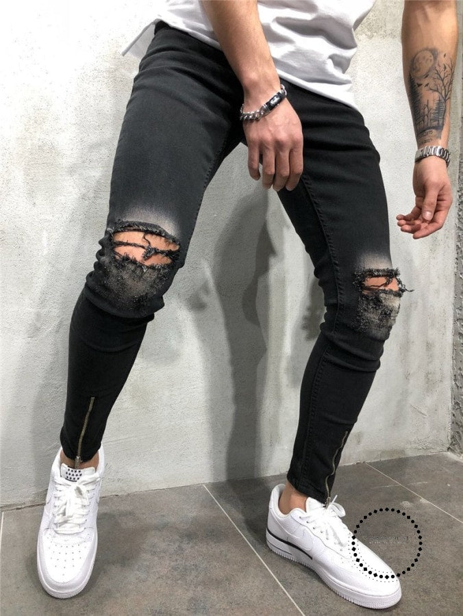 Black Ripped Jeans Men With Holes Denim Super Skinny