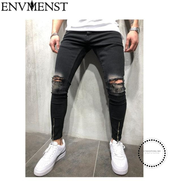 Black Ripped Jeans Men With Holes Denim Super Skinny Famous Designer Brand Slim Fit Jean Pants - myshoponline.com