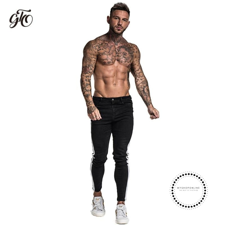Black Skinny Jeans For Men Denim Stretch Slim Fit Jeans Brand Biker Style Classic Hip Hop Ankle Tight Taping Male - myshoponline.com
