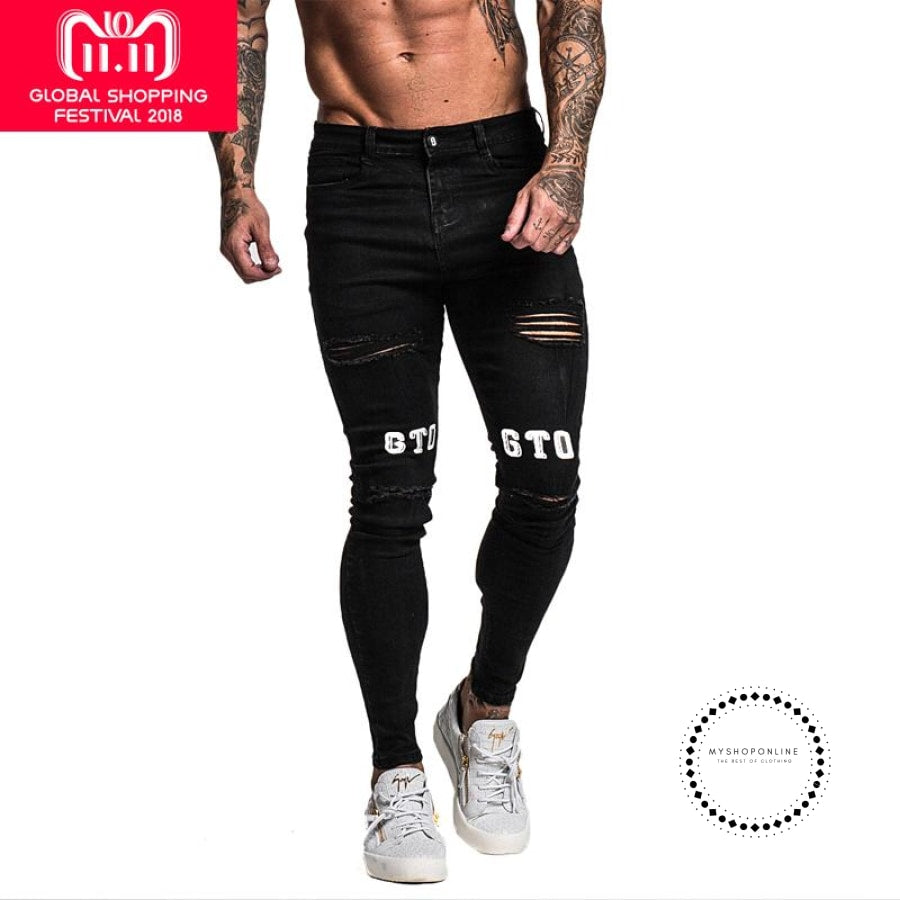 Black Skinny Ripped Jeans For Men Middle Waist Classic Super Spray On Ankle Tight With Print Hip Hop Streetwear - myshoponline.com