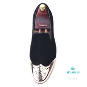 Black velvet shoes with gold Bullock - myshoponline.com