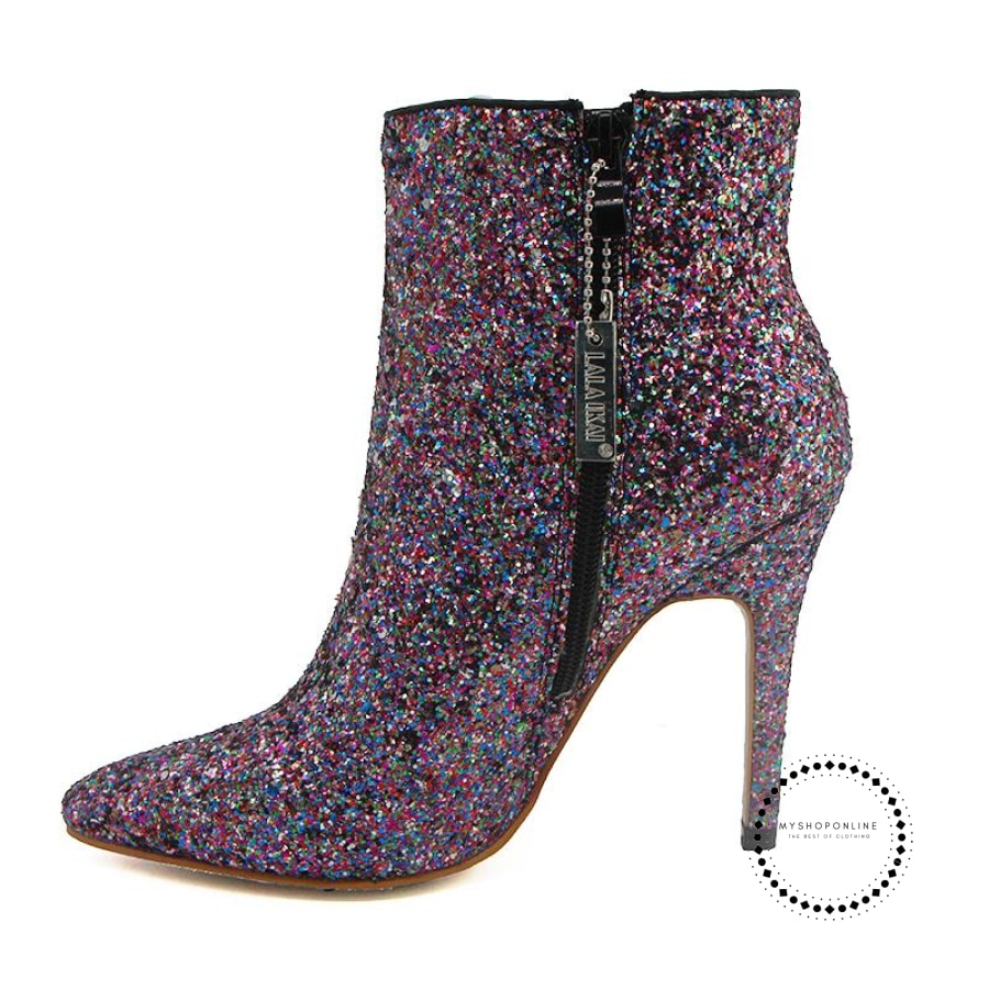 Bling Sequined Zipper Pointed Boots Women High Heeled 10CM Winter Shoes Fashion Ladies Ankle Boots - myshoponline.com