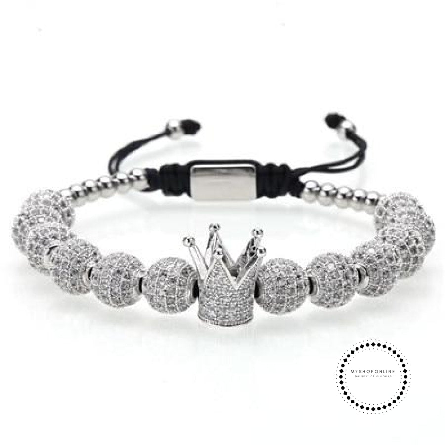 bracelet/stainless steel beads/crown/men luxury jewelry - myshoponline.com