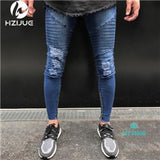 Brand Slim Fit Destroyed Torn Jean Pants For Male Black Ripped Jeans - myshoponline.com
