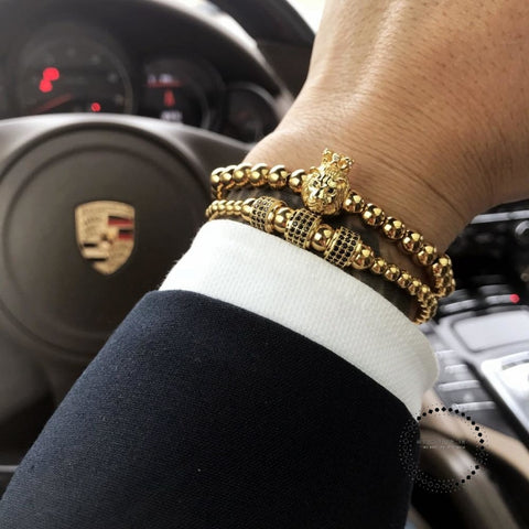 charm Bracelet men/gold/luxury/stainless steel beads bracelets & bangles pave cz zircon lion bracelet male jewelry - myshoponline.com