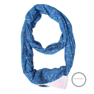 Convertible Infinity Scarf With Pocket Pattern Zipper All-Match Fashion Women Scarves Galaxy Blue
