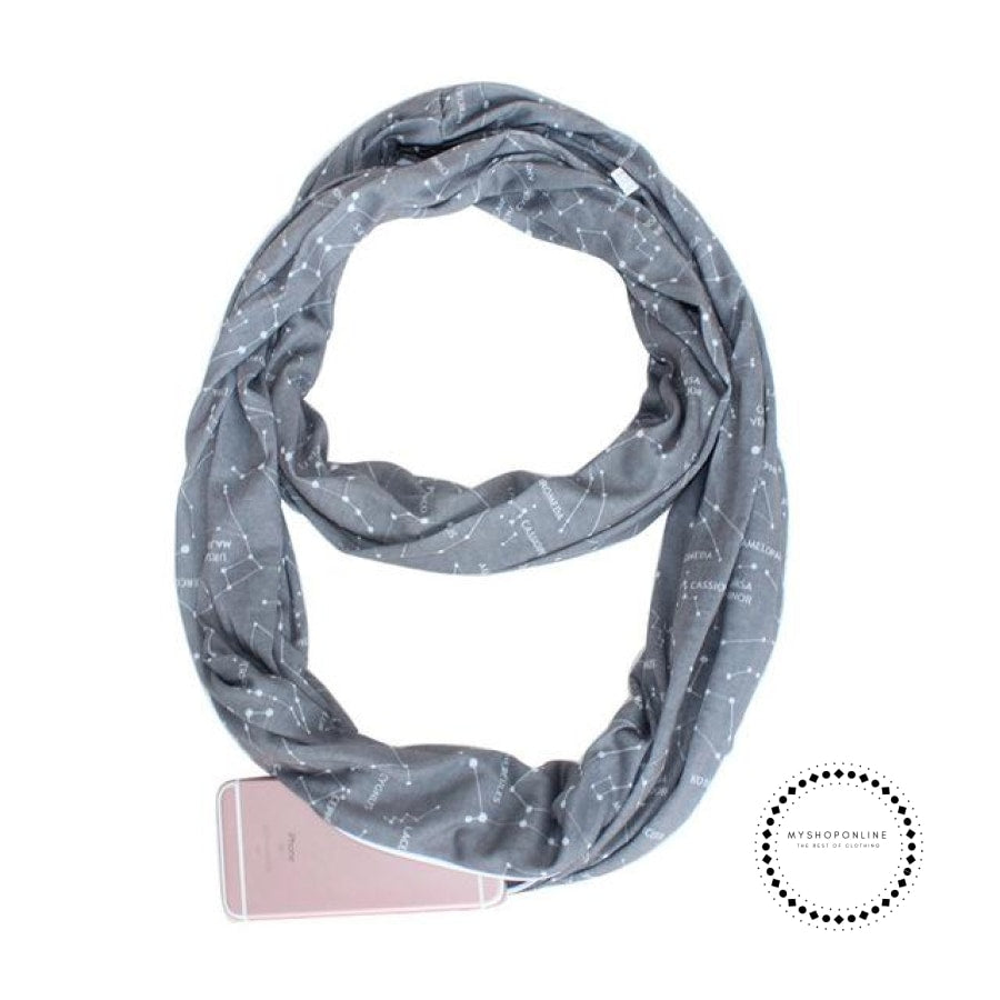 Convertible Infinity Scarf With Pocket Pattern Zipper All-Match Fashion Women Scarves Galaxy Grey