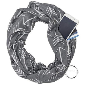 Convertible Infinity Scarf With Pocket Pattern Zipper All-Match Fashion Women Scarves Geometric Dark