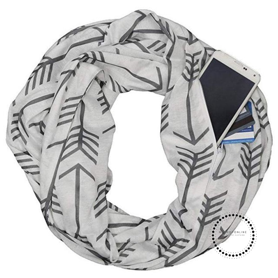 Convertible Infinity Scarf With Pocket Pattern Zipper All-Match Fashion Women Scarves Geometric