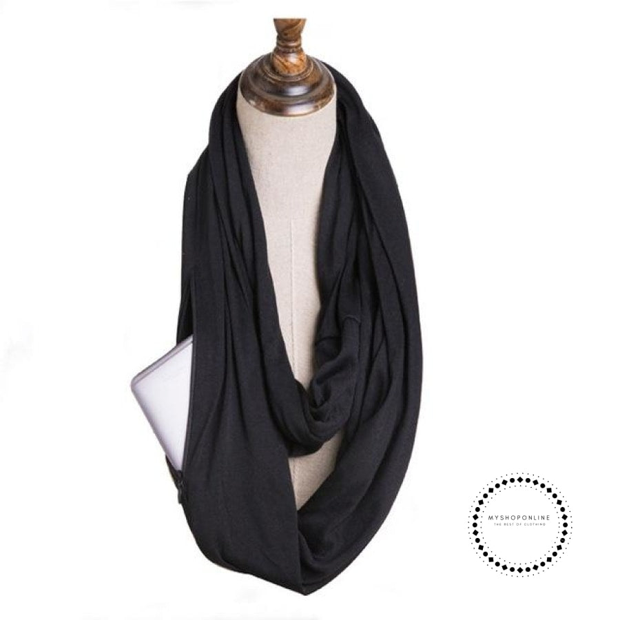 Convertible Infinity Scarf With Pocket Pattern Zipper All-Match Fashion Women Scarves Solid Black