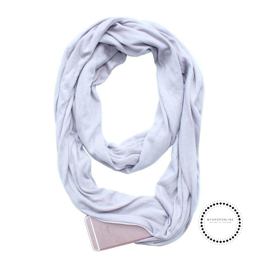 Convertible Infinity Scarf With Pocket Pattern Zipper All-Match Fashion Women Scarves Solid Grey